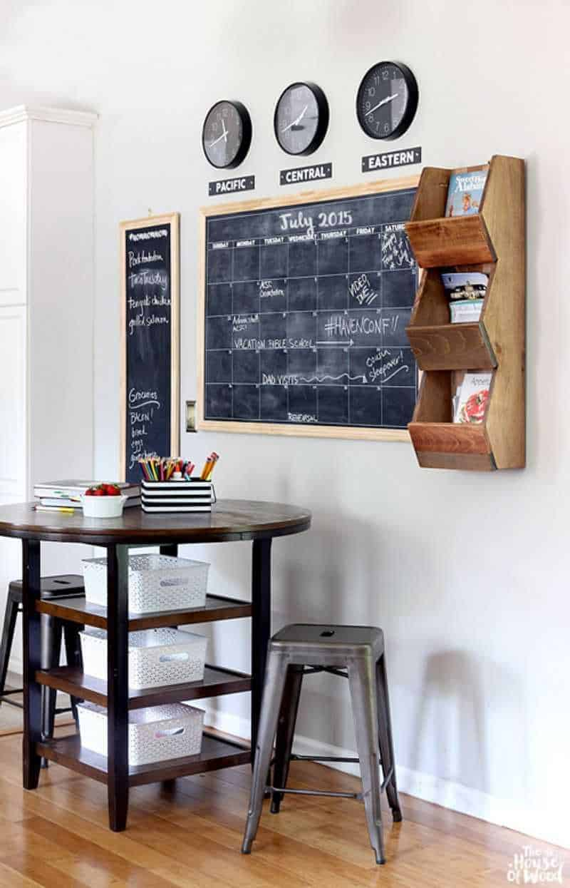 A family command center with chalkboard