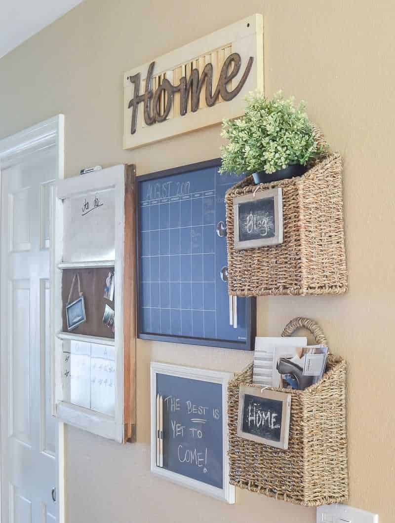 Beautiful command center with baskets and chalkboard
