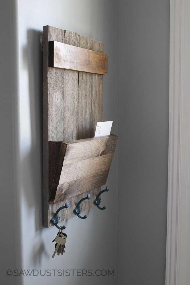 Rustic wood wall key holder
