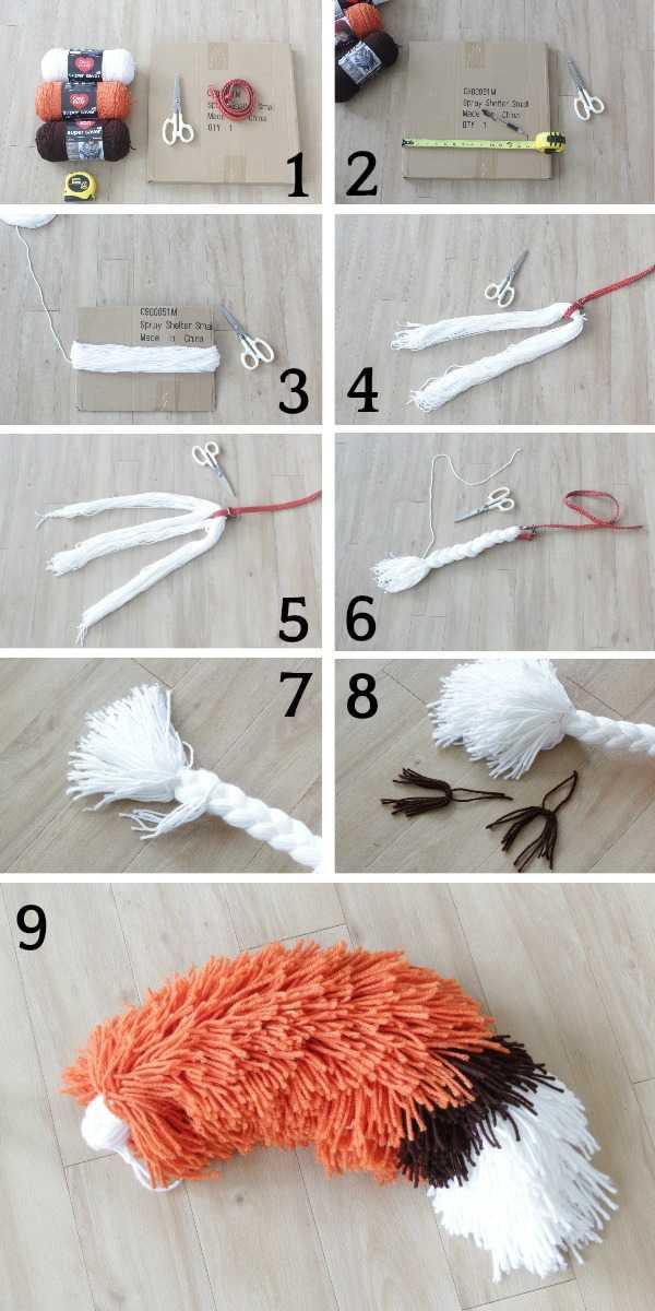 All steps to make yarn fox tail