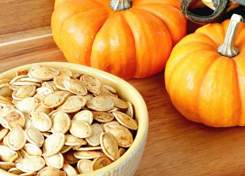 Close up of pumpkin seeds in a bowl