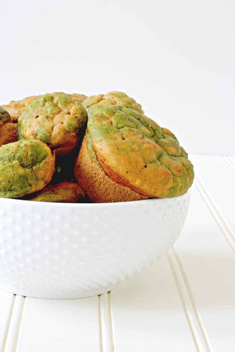 A bowl of healthy green muffins