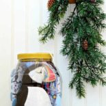 A puffin in a giant ornament for Christmas
