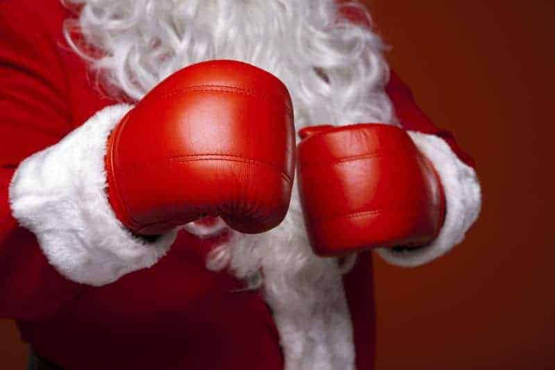 Budget Christmas Santa with boxing gloves