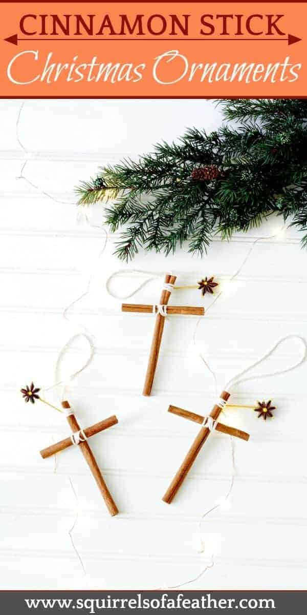 Homemade cinnamon stick cross ornaments