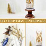 Gold antler Christmas hurricane vase