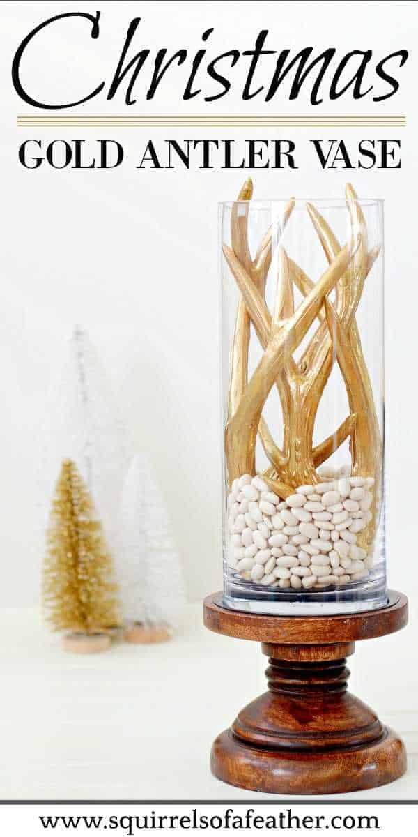 A DIY Christmas centerpiece with gold antlers
