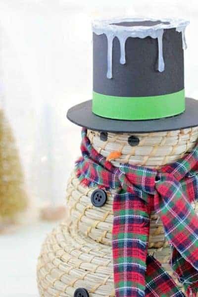 Close up of snowman craft