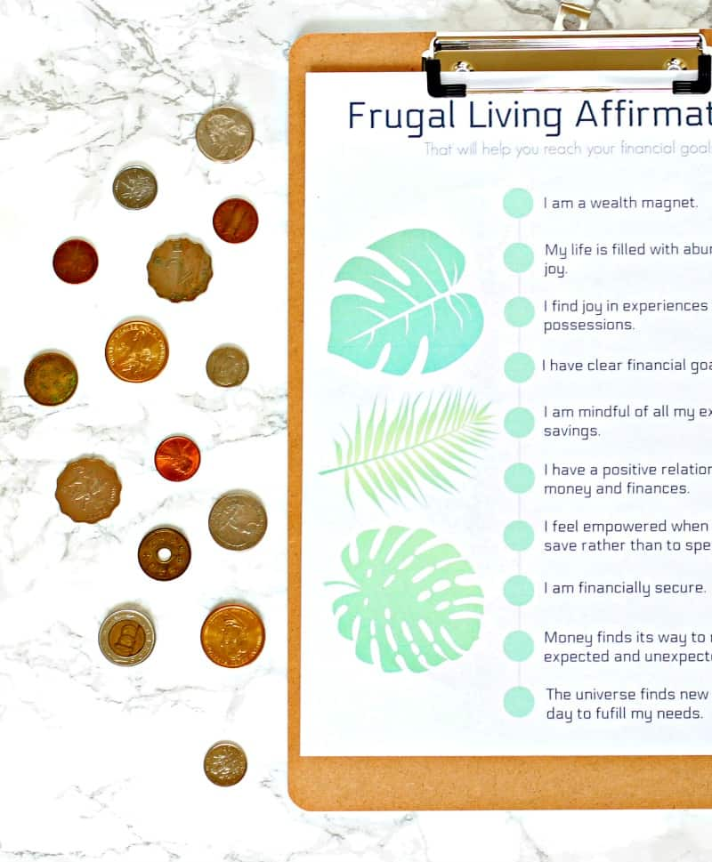 A checklist of frugal living affirmations to print