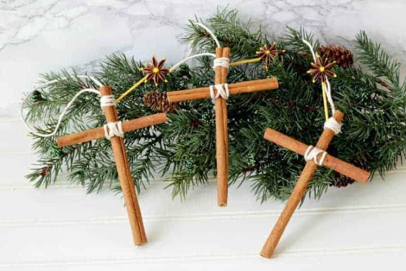 Three cinnamon stick cross ornaments