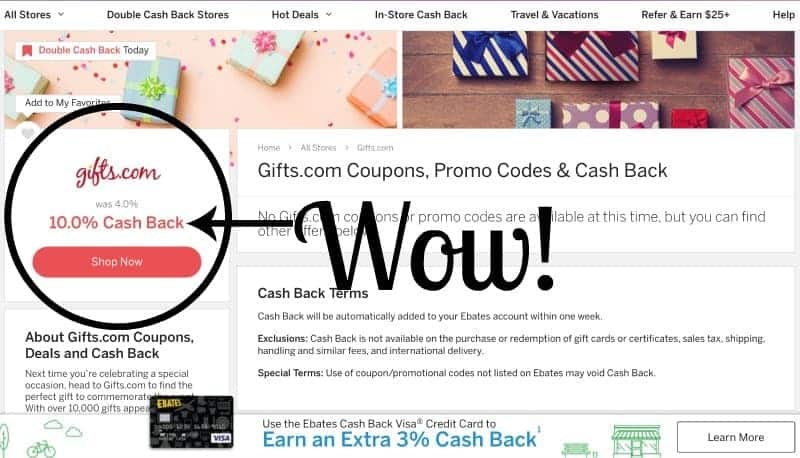 Screenshot of 10% Ebates discount