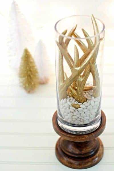 DIY Christmas Centerpiece with Gold Antlers