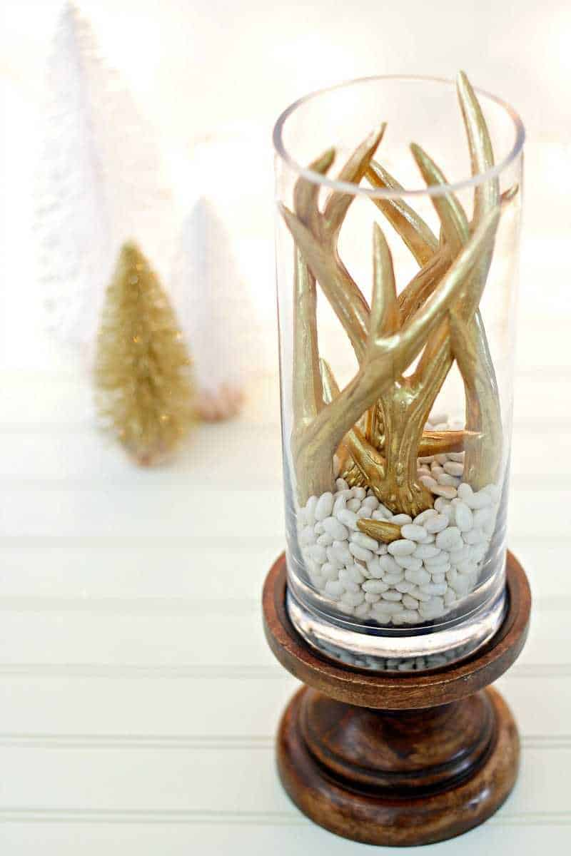 DIY winter centerpiece with Christmas trees