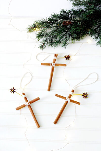 Close up of cinnamon stick cross ornaments