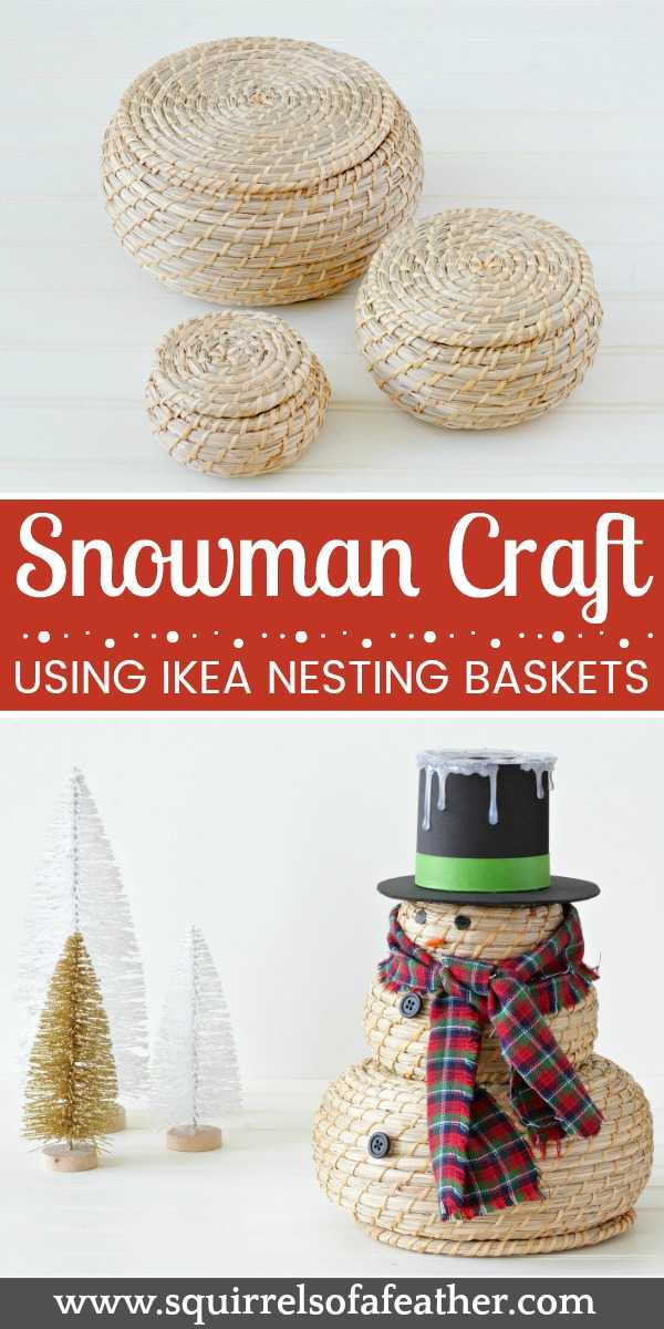 IKEA baskets for snowman craft
