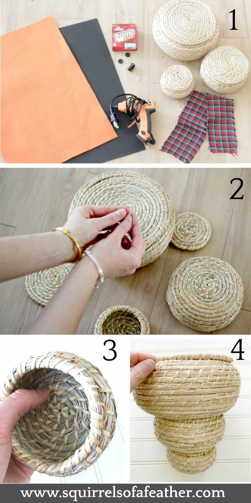 Using baskets for snowman craft