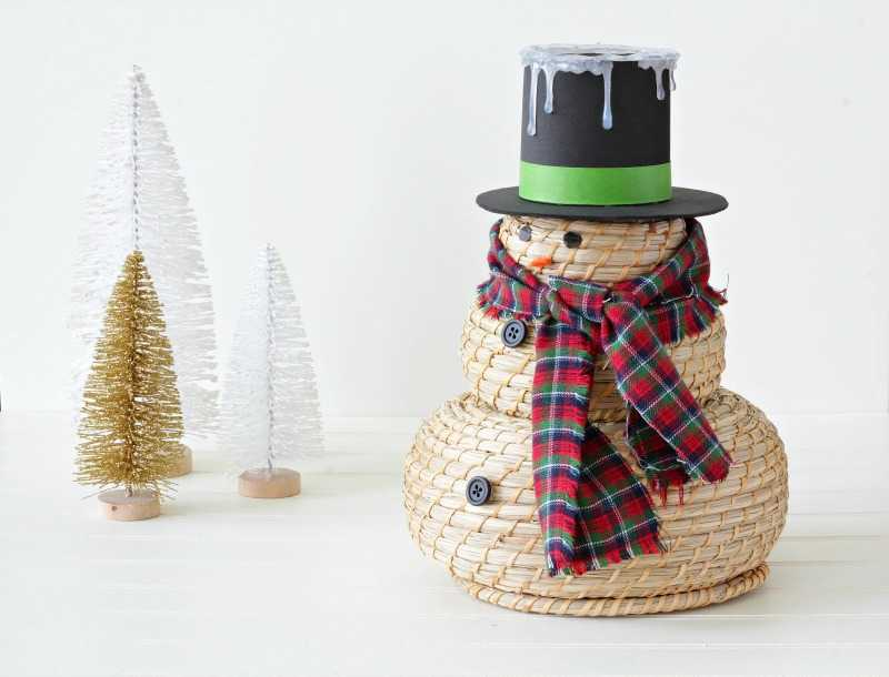 A snowman craft with a black hat
