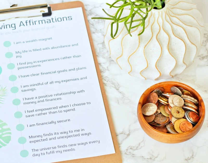 Close up of a printable frugal living affirmations list