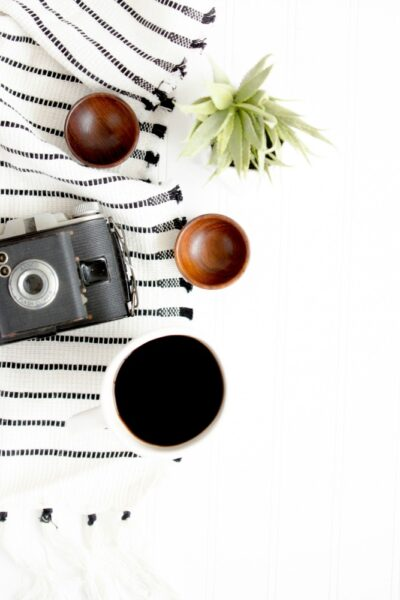 A camera and other items on a table