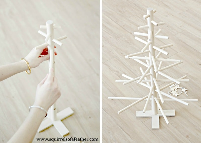 Putting together wood Christmas tree kit step-by-step.