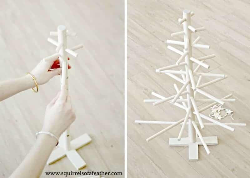 Hand assembling wooden dowel tree