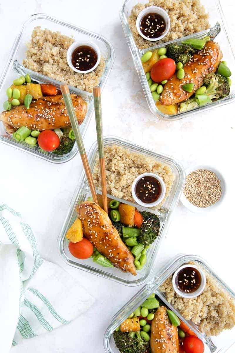 Chicken teriyaki meal prep work lunch