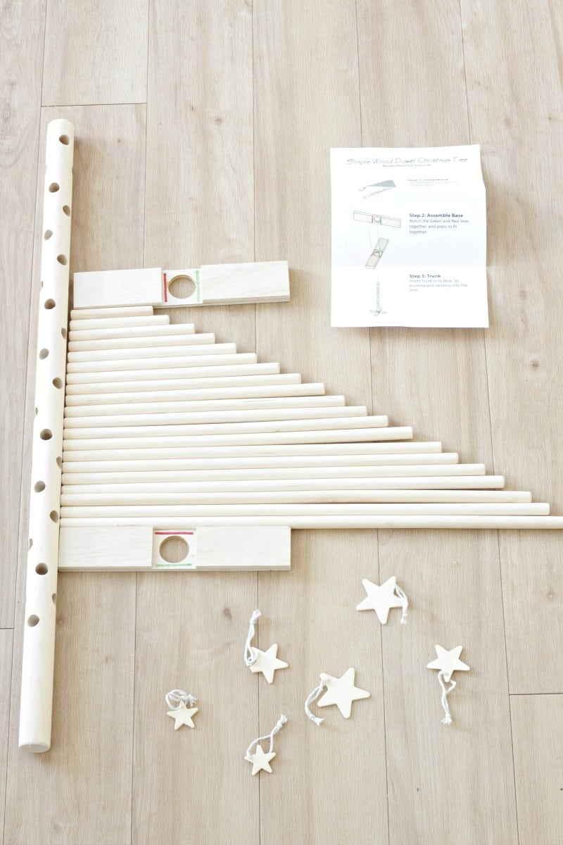 Close up of wooden dowel Christmas tree kit.