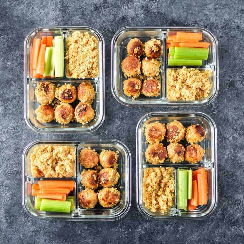 Close up of work lunch box ideas for meatballs
