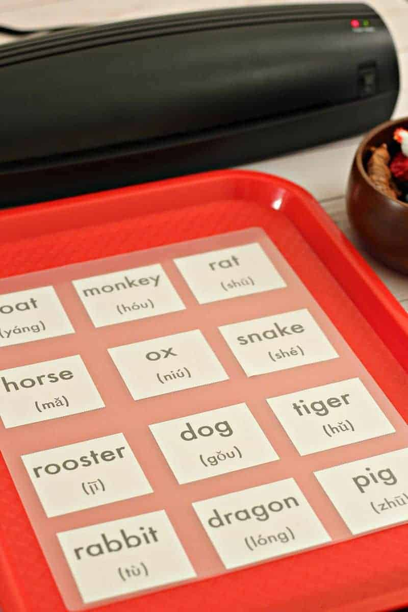 Laminating Chinese New Year zodiac game