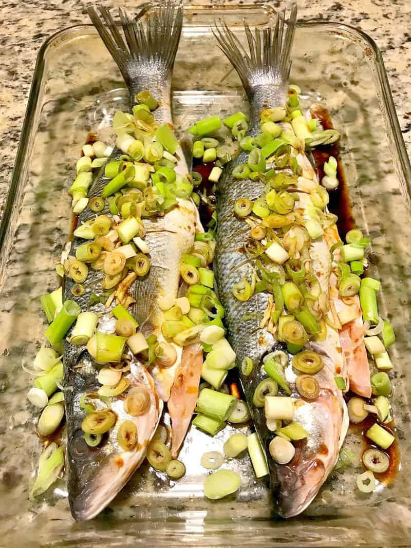 Two whole fish baked Chinese-style