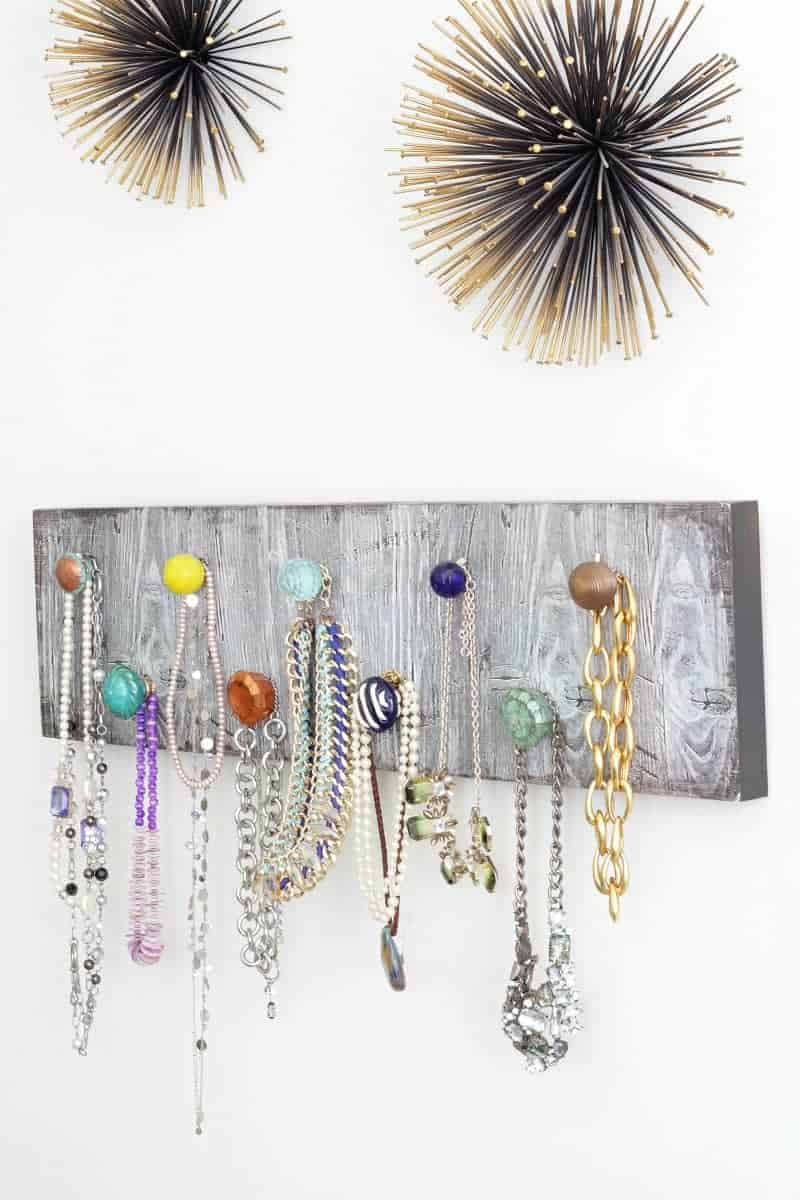 A gorgeous DIY necklace holder for organizing necklaces