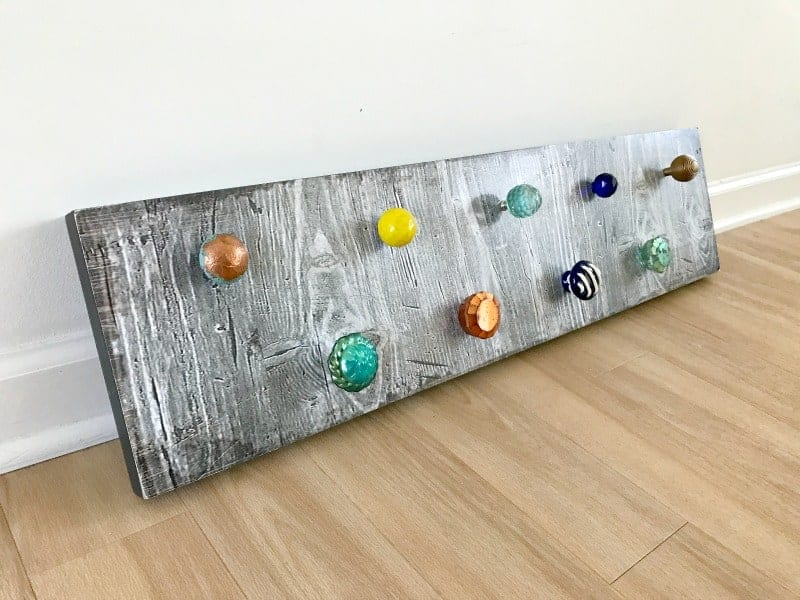 Finished DIY necklace holder with knobs