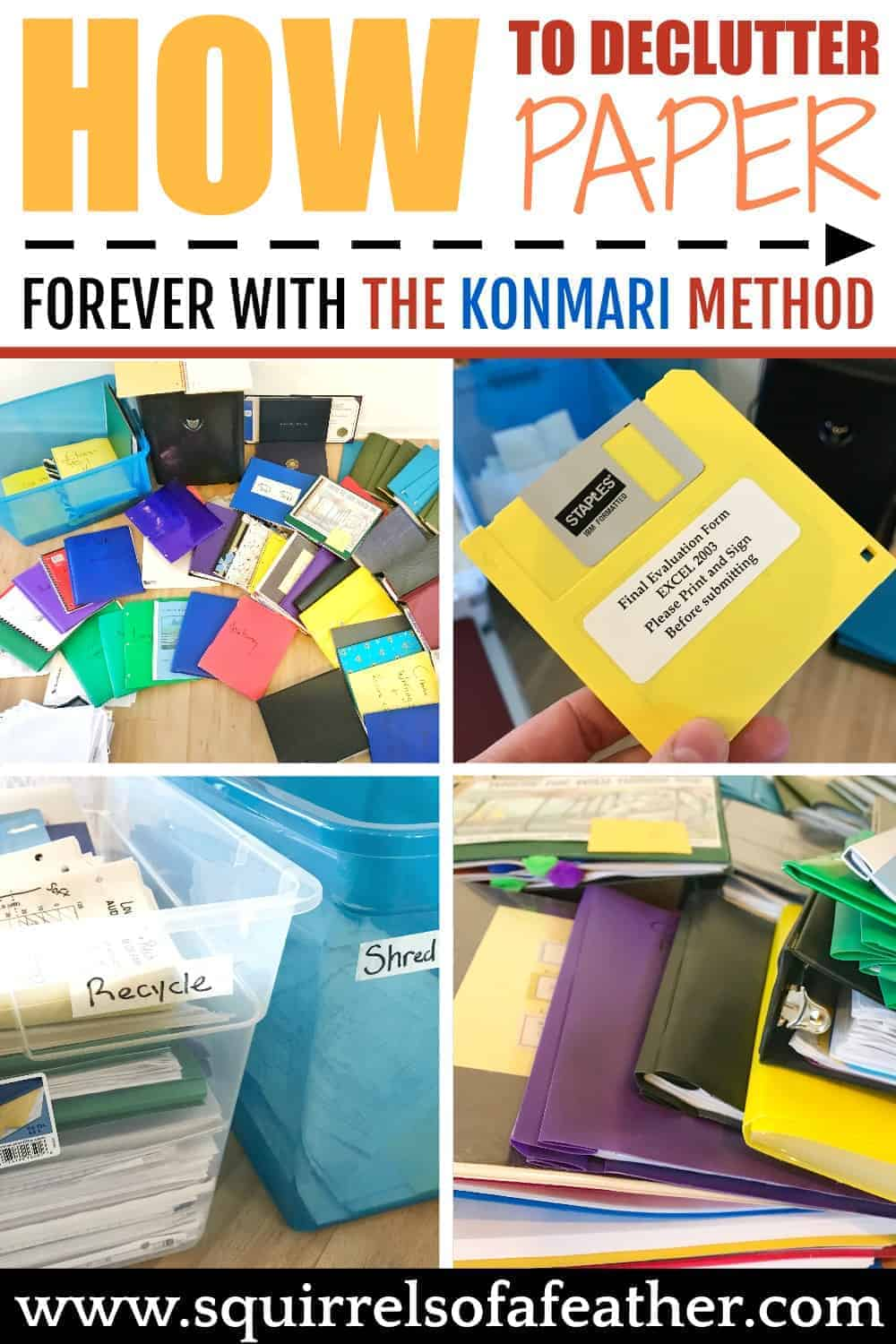 Stages of decluttering paper with the KonMari method