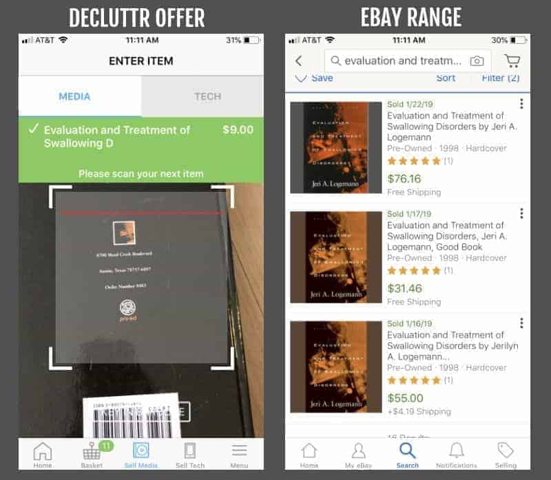 Comparing eBay and Decluttr prices