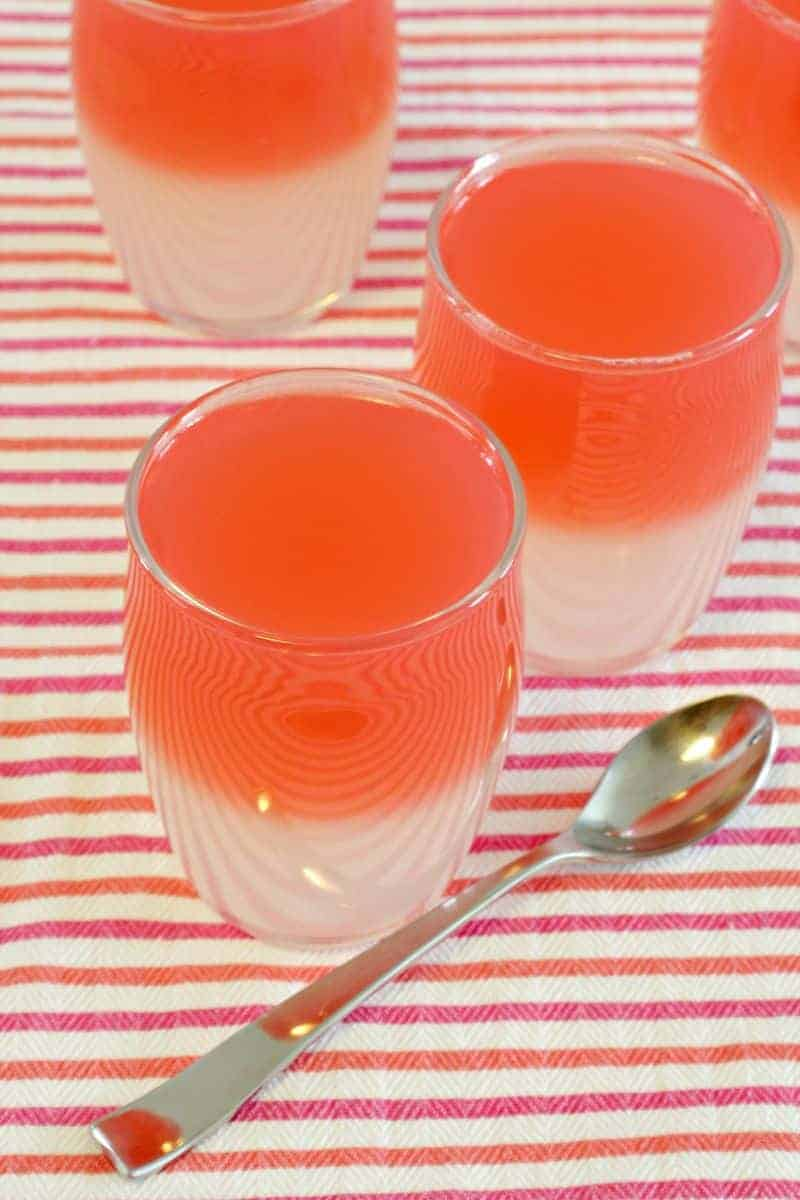 Close up of red fruit jelly cups