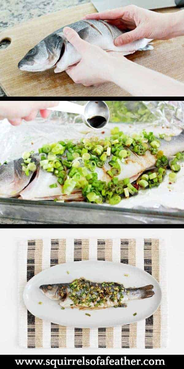 Step-by-step infographic for making whole Chinese fish