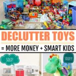 Shots of toys being decluttered and sold or donated