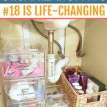 Bathroom organization in small cupboard