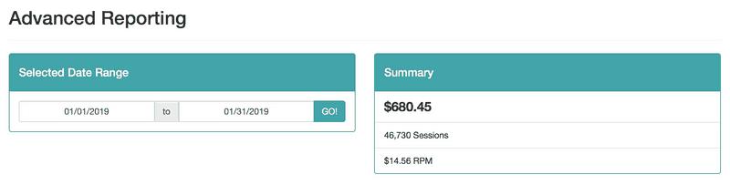 Shot of MediaVine ad income for blog