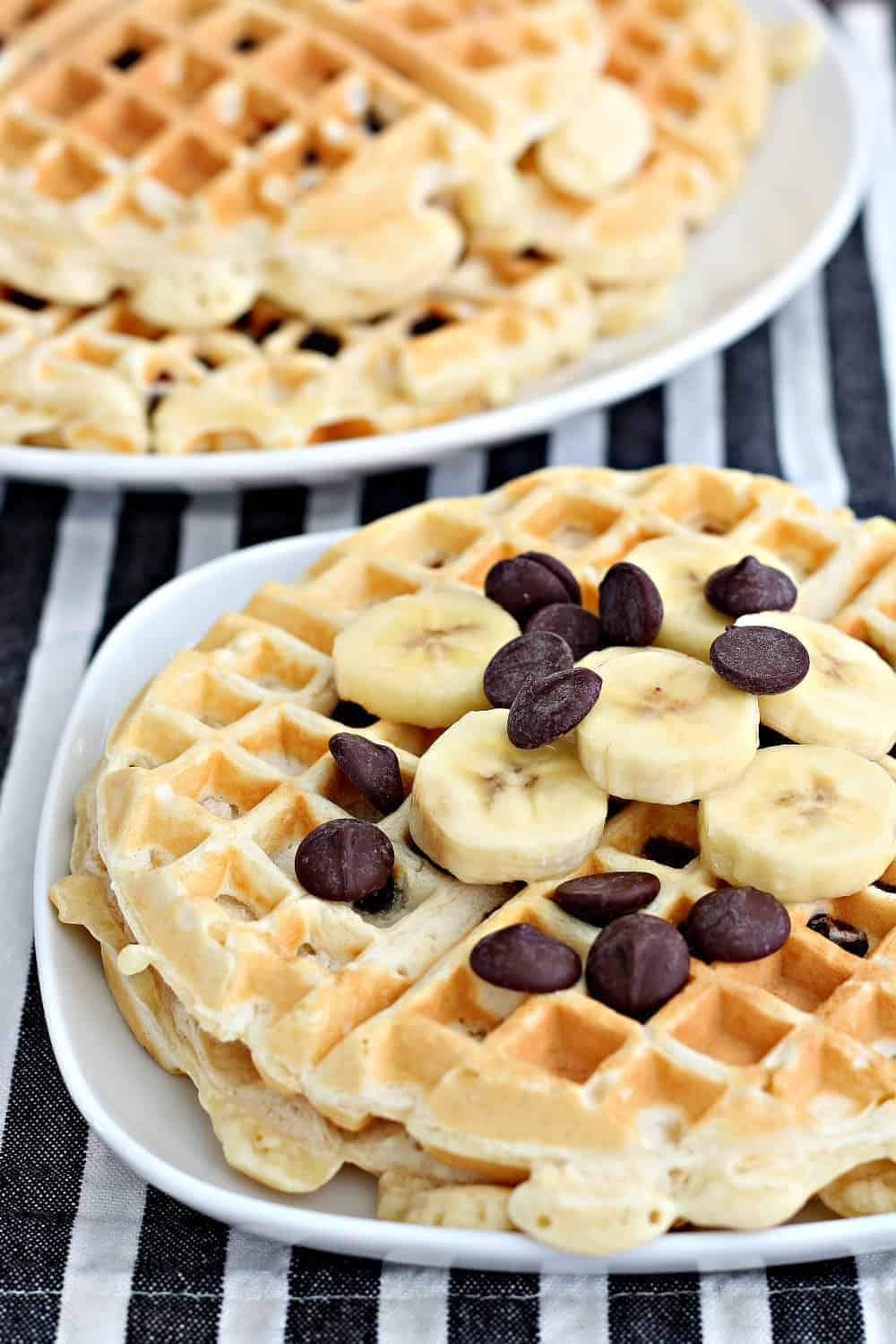 Close up of chocolate chip waffles