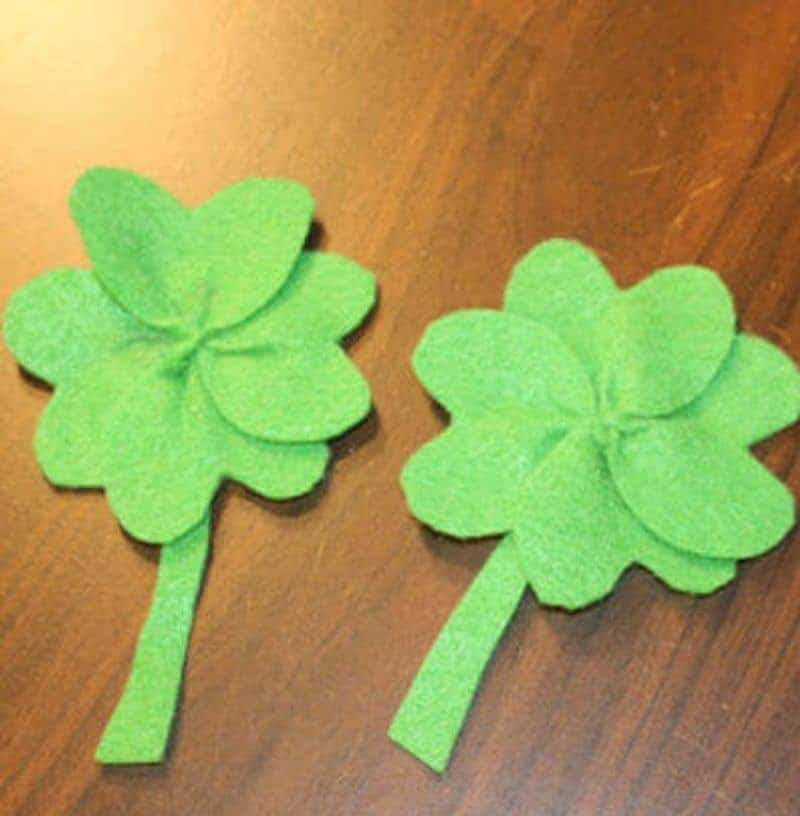 Felt shamrocks in green