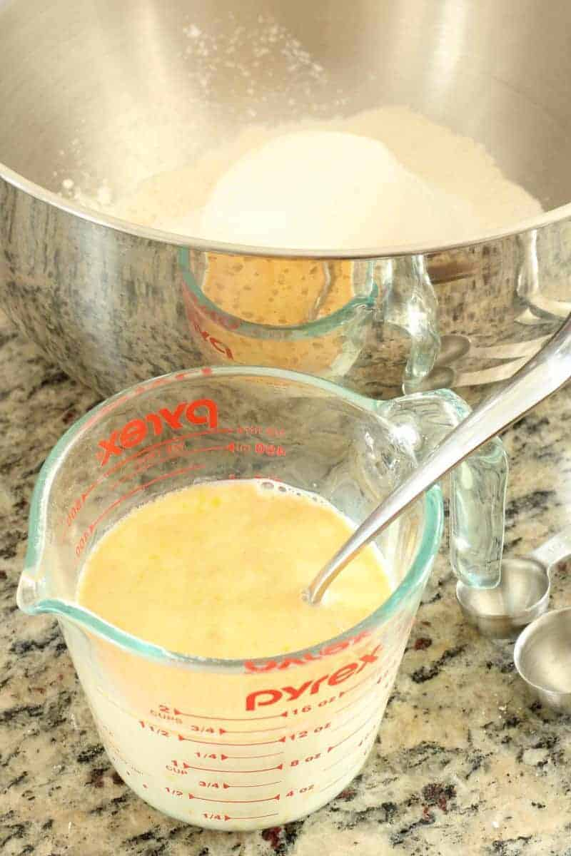 Rice cooker pancake batter next to bowl