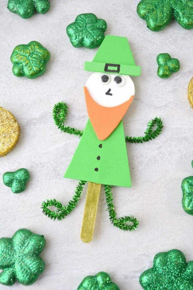 A leprechaun made from popsicle sticks