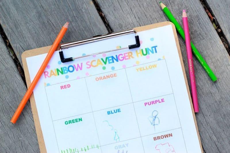 Close up of a rainbow scavenger hunt worksheet