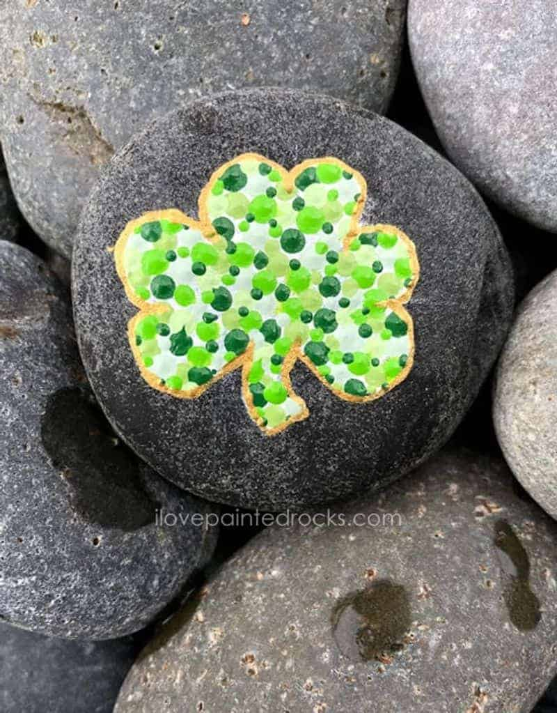 Shamrock painted rock