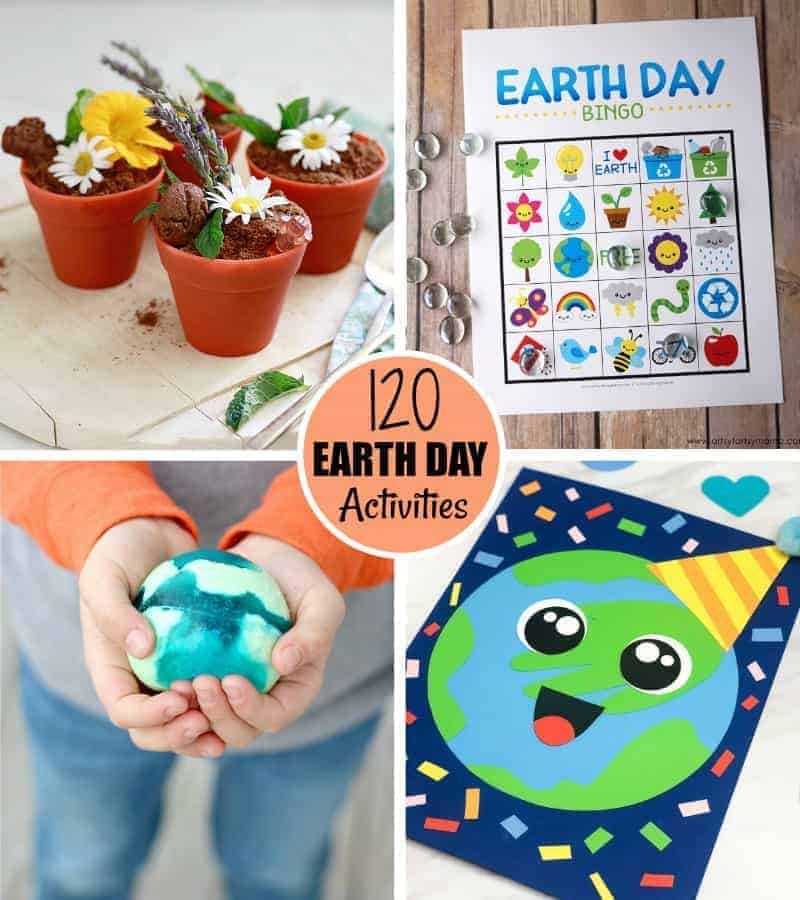 Four Earth Day activities in a grid