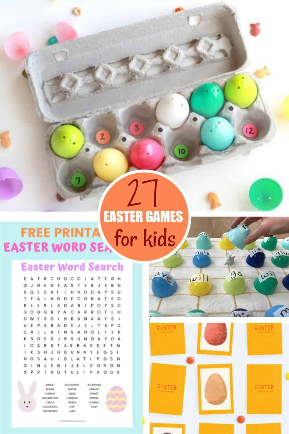 Four Easter games on a table
