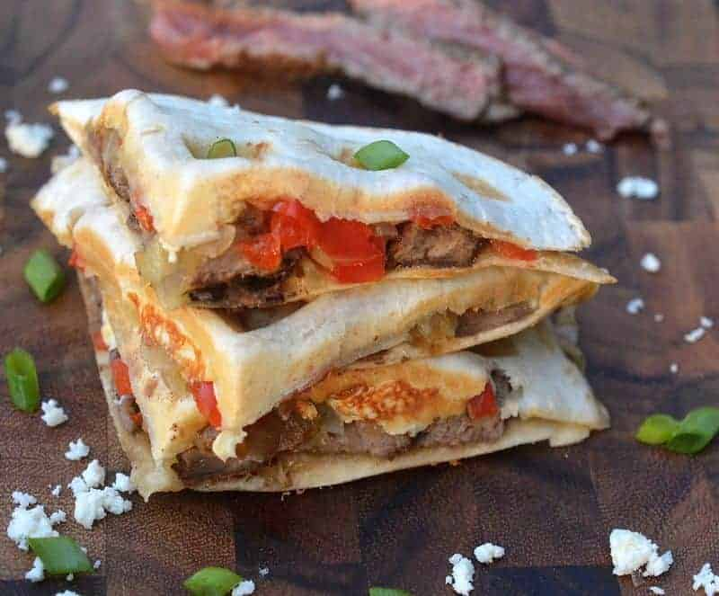 Steak quesadillas made in waffle iron