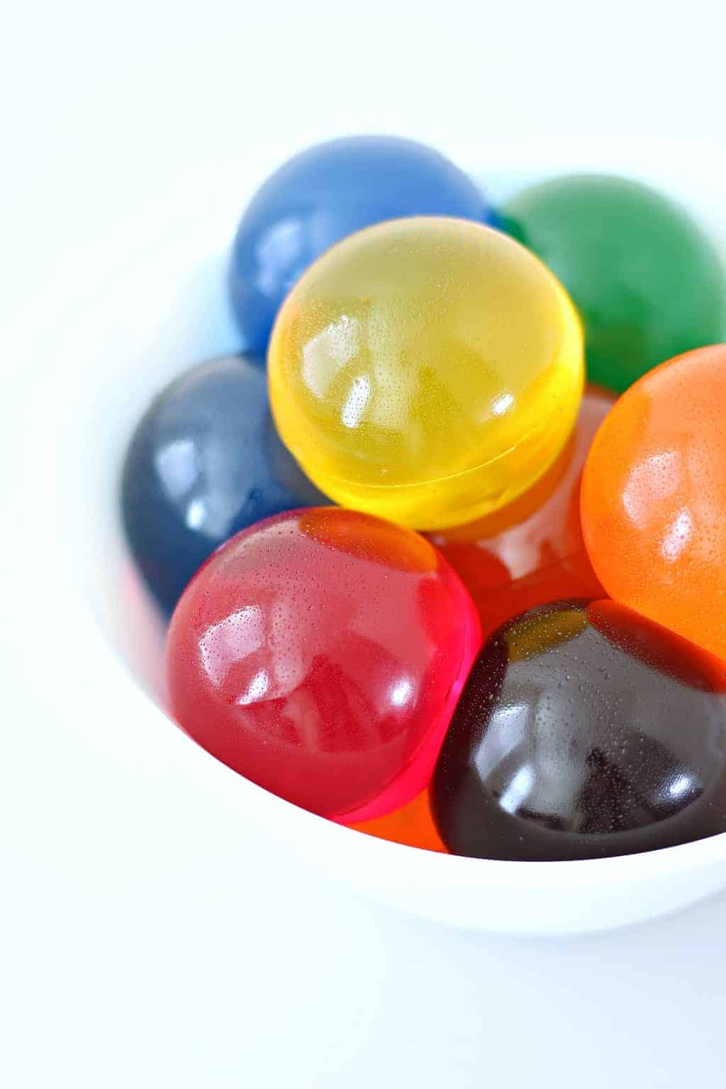 Close up of colorful Jello Jiggler balls