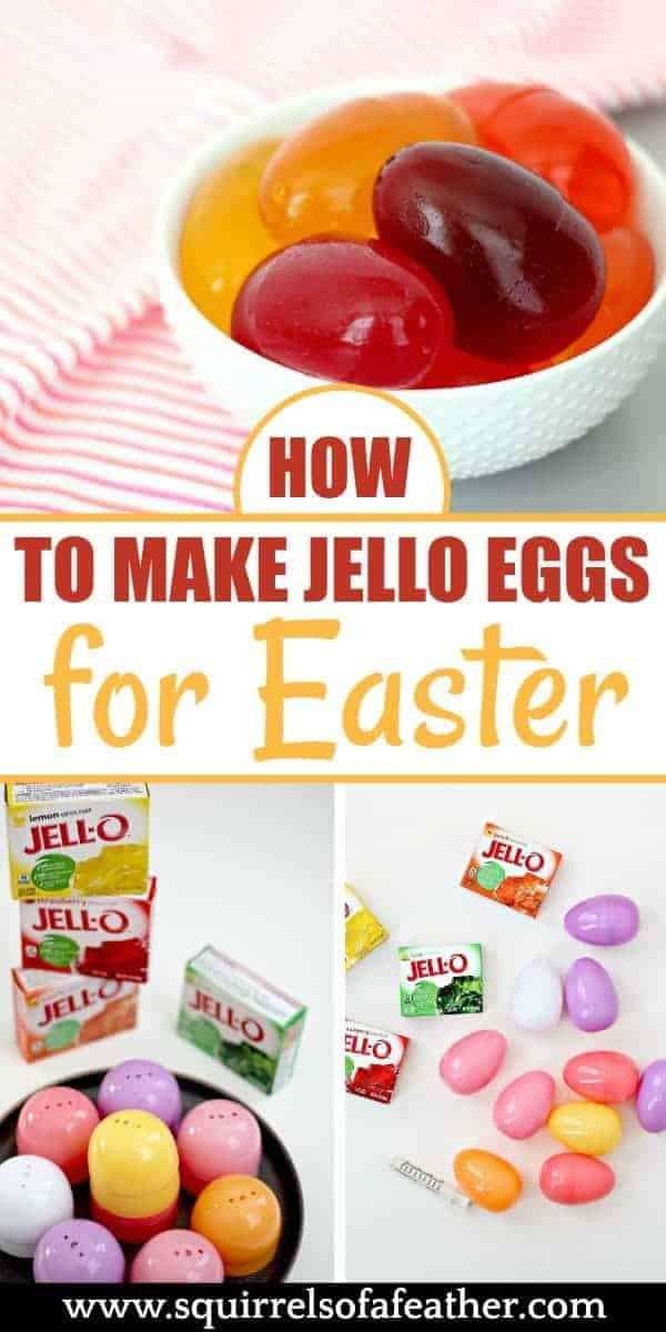 Jello Easter eggs in a bowl with ingredients